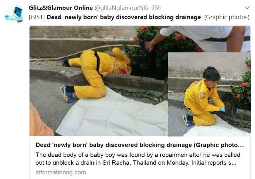 The repairman removing the fetus from the drain