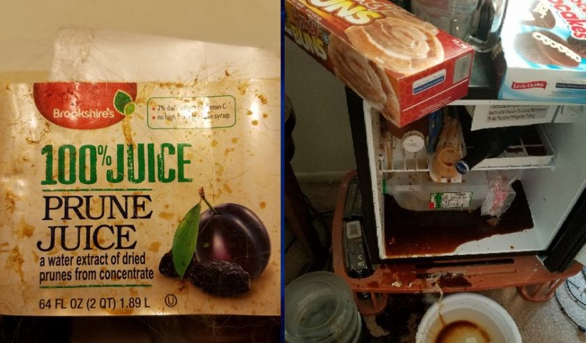 Exploded prune juice bottle