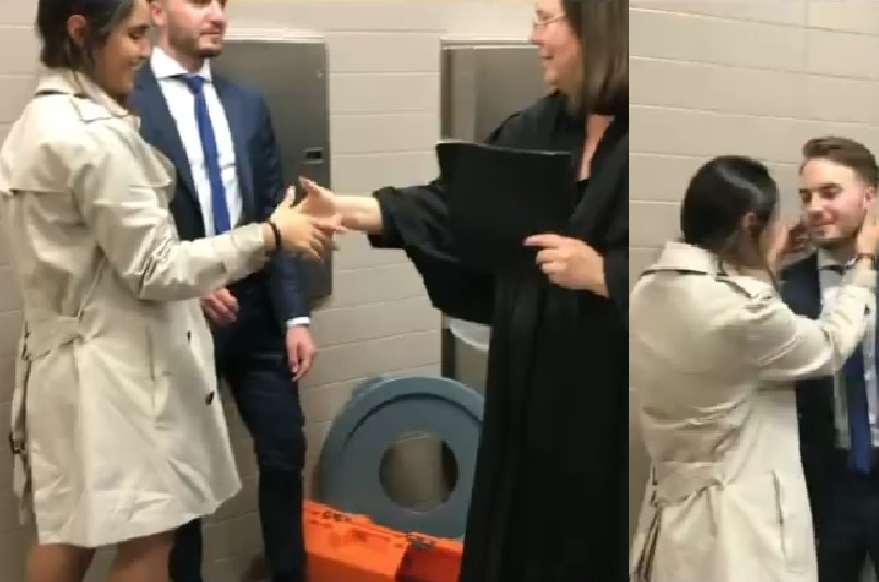 Brian and Maria Schulz getting married in bathroom