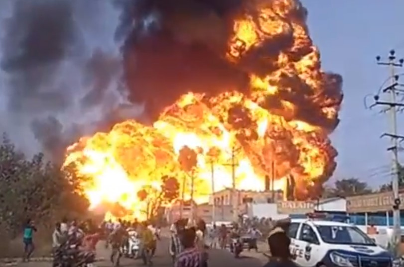 Gas tanker blows up