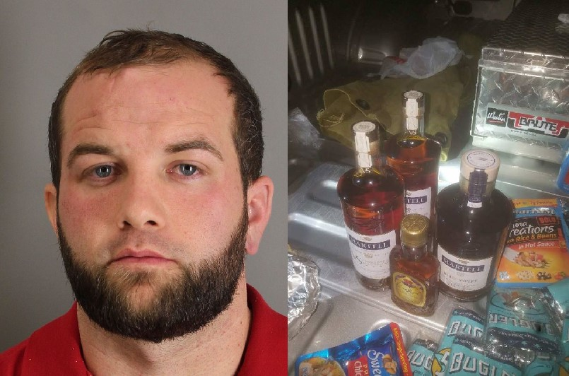 Joshua Hansen and smuggled alcohol bottles