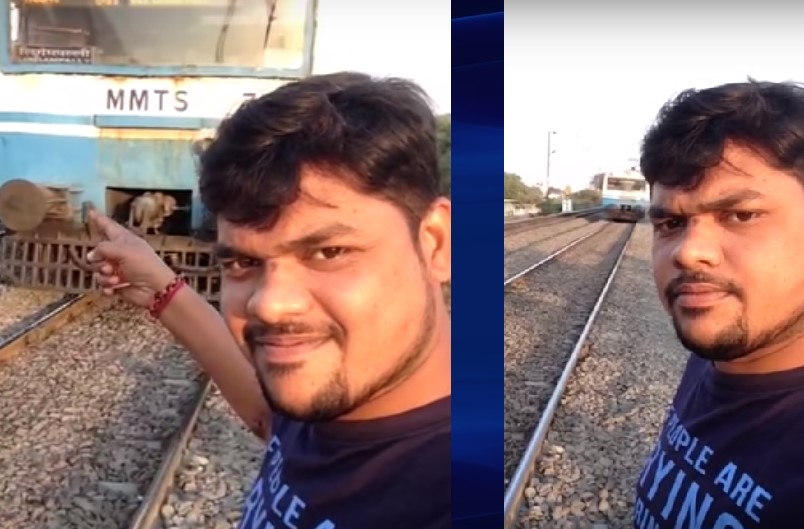 T Siva getting hit by train