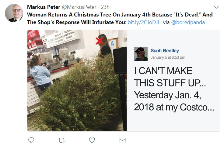 The woman at Costco with her tree and Scott Bentley's post