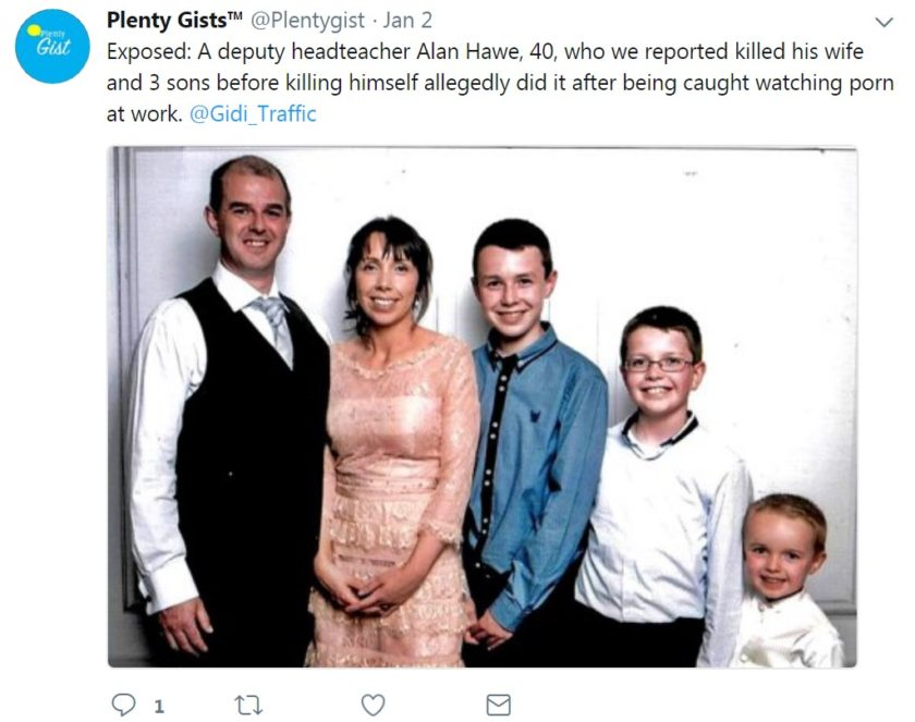 Alan Hawe with his family