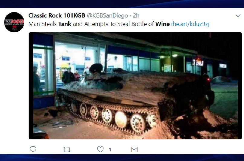 Man drove tank through convenience store to steal wine