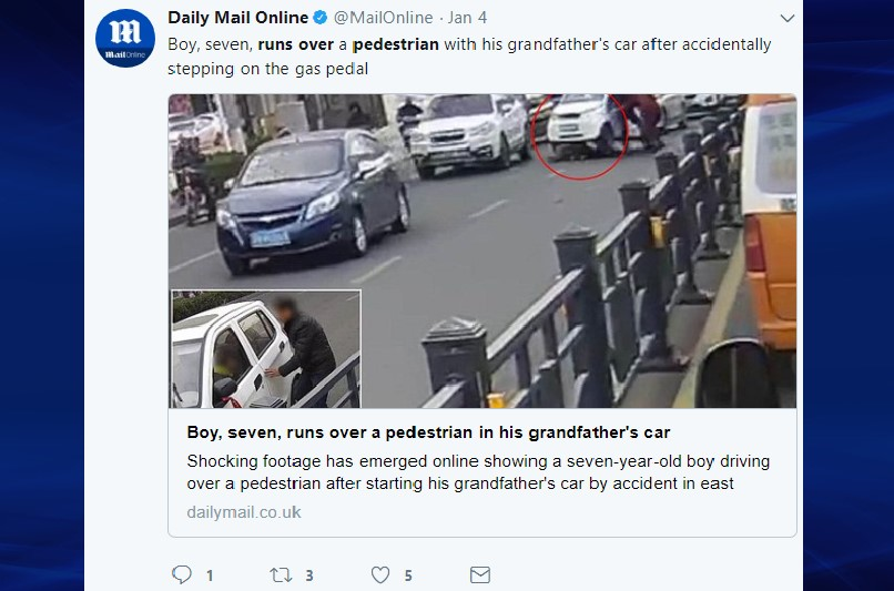 Boy running over pedestrian with grandfather's car