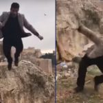 Halil Dag falling to his death at the Urfa Castle
