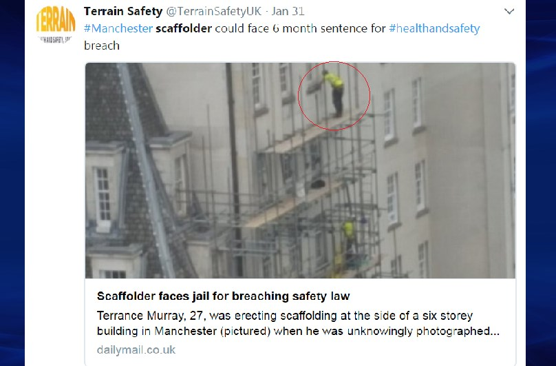 Terrance Murray on top of the scaffolding