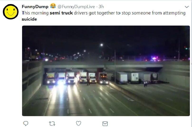 truck drivers stop man from jumping